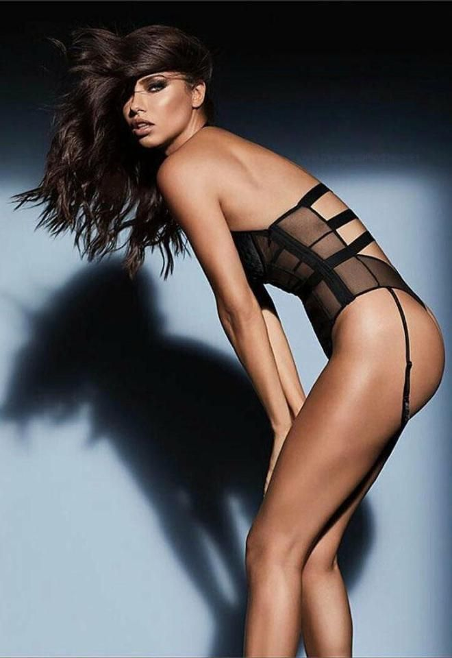 Her sheer black lingerie