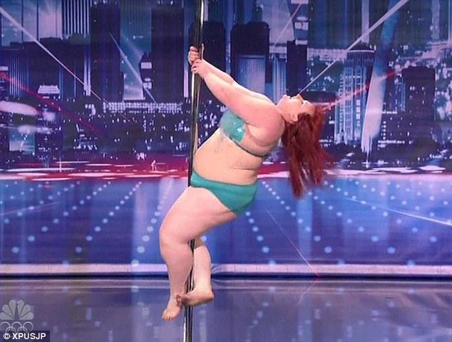 Girl on stripper pole