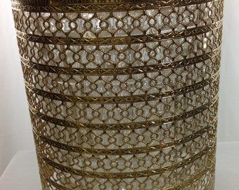 Filigree gold wastebasket