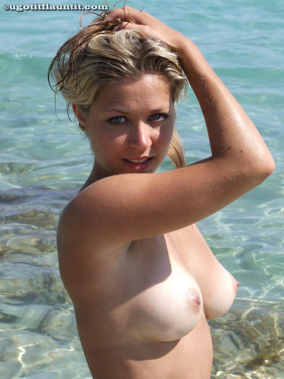 Topless bikini beach