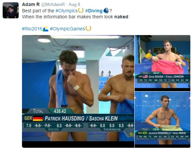 Diving nude male athletes