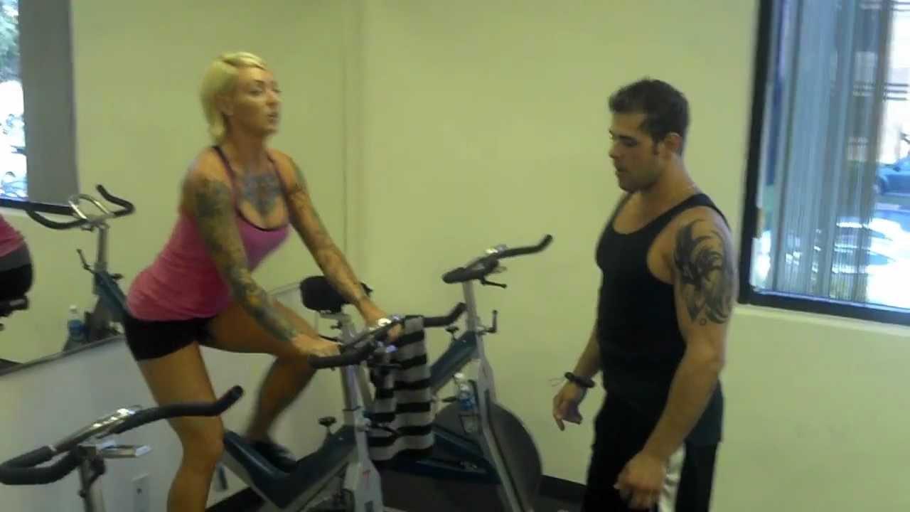 Naked on exercise bike