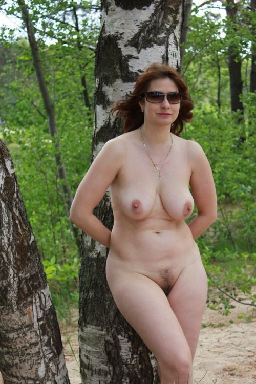 Mom posing naked outdoors