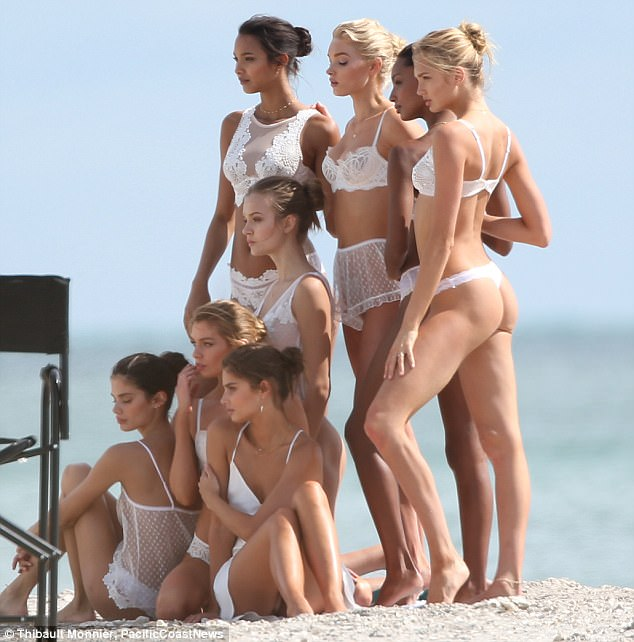 Victoria secret models on beach