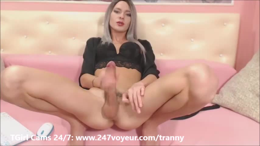 Shemale with big penis masturbating