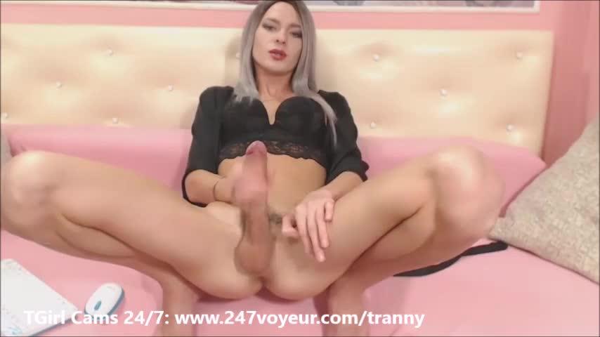 Shemale with big penis masturbating