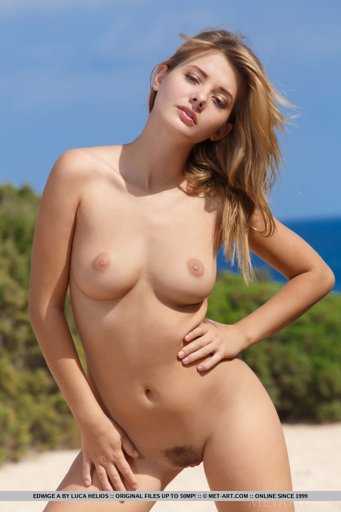 Outdoors beautiful blondes met art