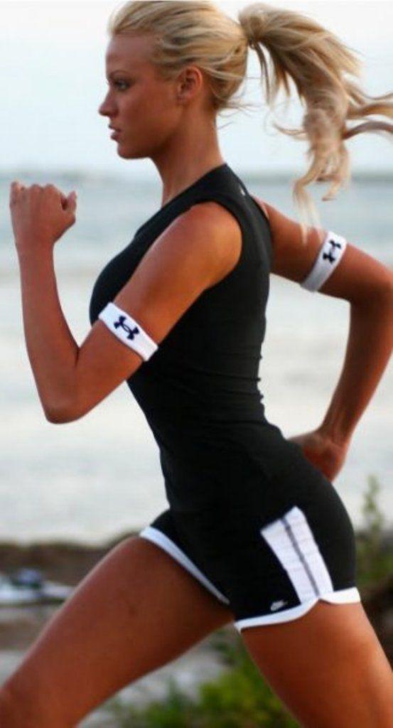 Sexy hot runner girl running