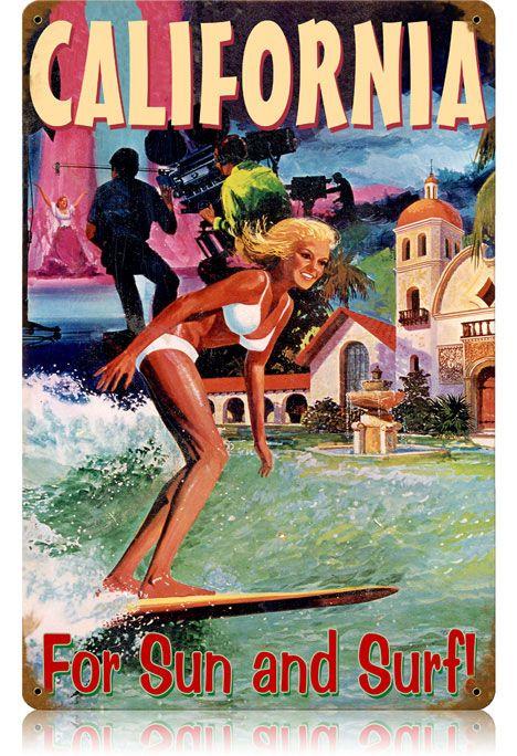 women Vintage postcard surfer