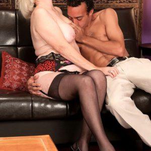 Interracial mature 60 stockings