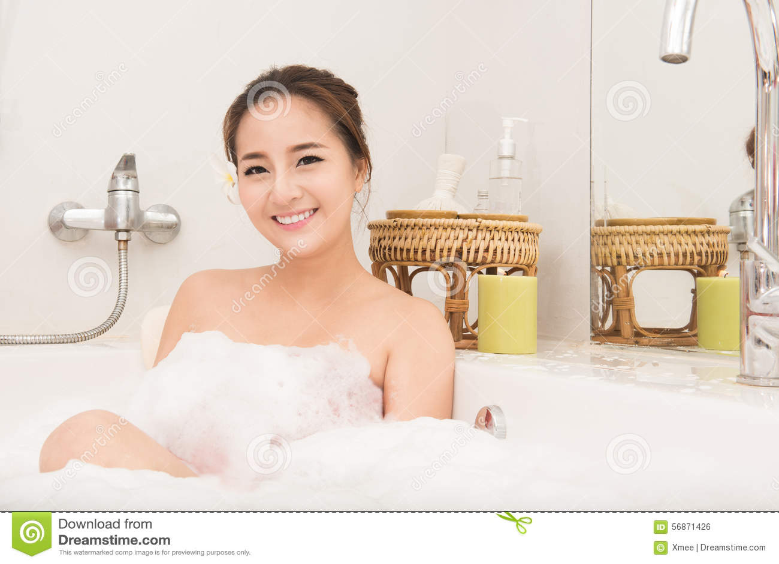 Young asian girl bath