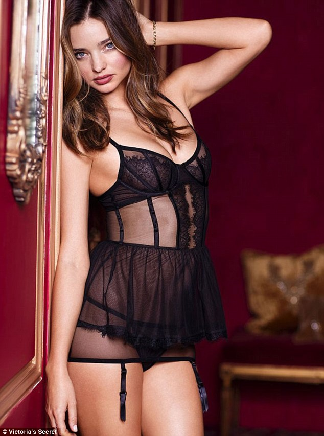 Her sheer black lingerie
