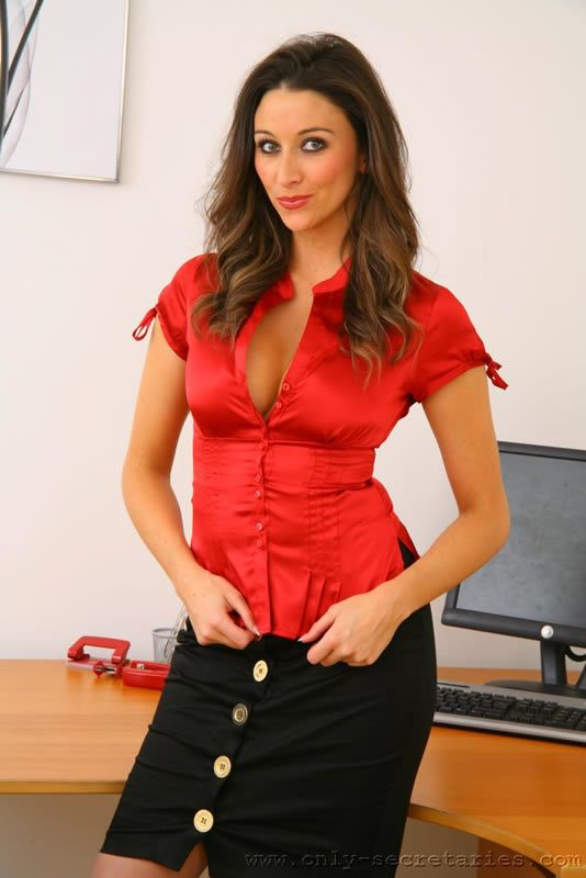 Red satin blouse busty