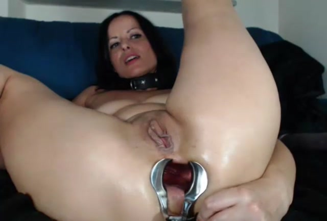 Brutal anal dildo insertions