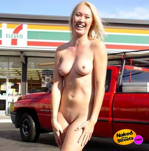 Naked at gas station nude