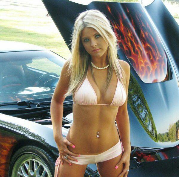 car Bikini girl in sports