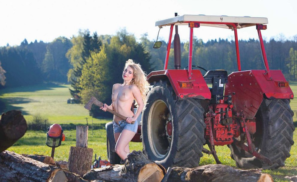 Naked girls on tractors