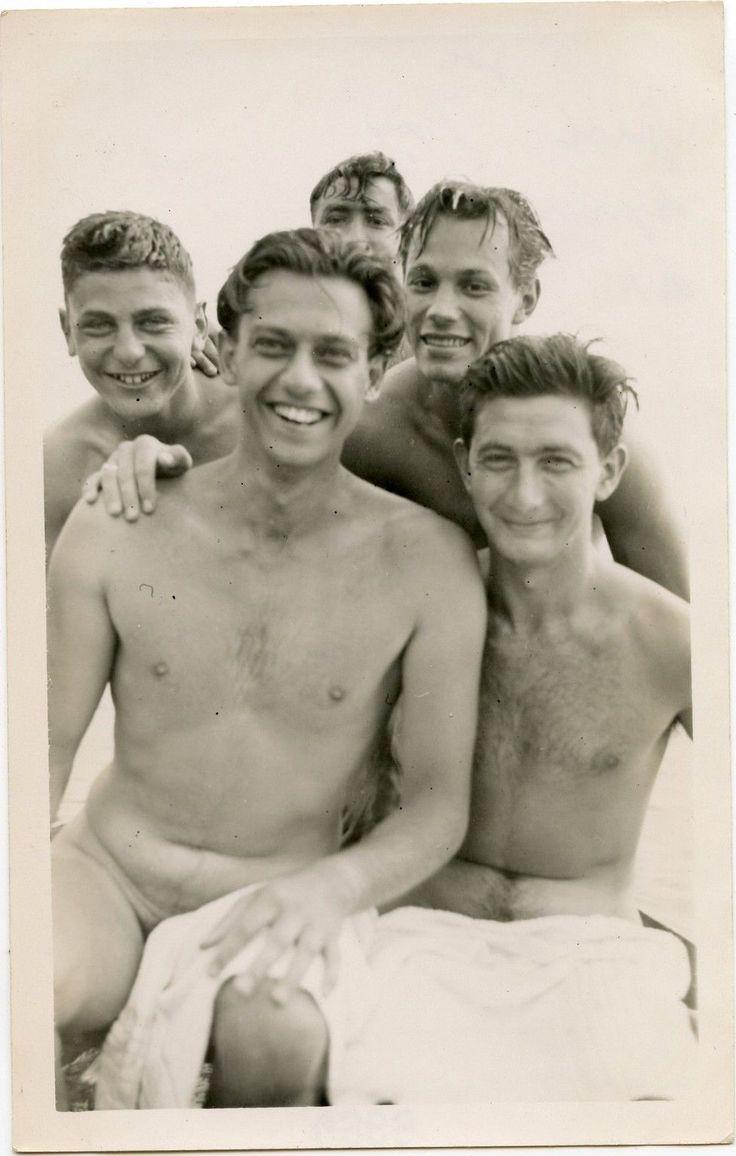 Gay vintage boy skinny dipping