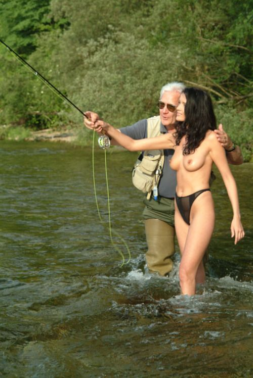 Nude girl fly fishing