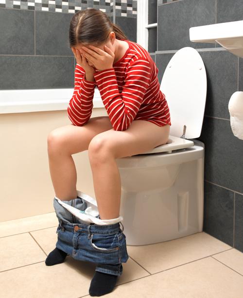 sitting toilet Girl on