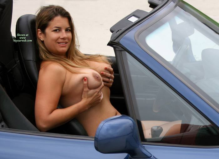girl driving bmw Naked