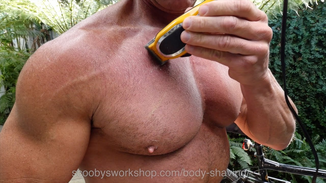 Naked men body shaving