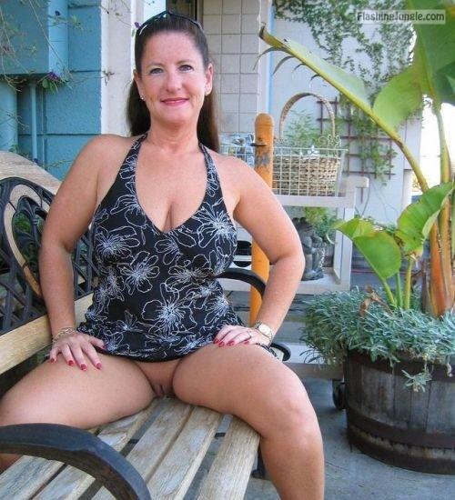Wife flashing in public upskirt no panties