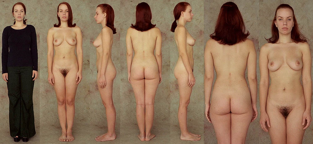 Nude female body line up