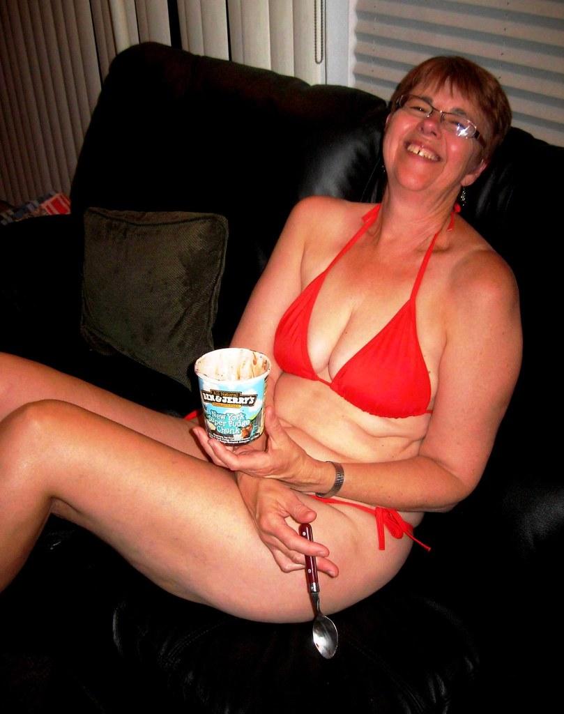 Mature wife sexy beach bikini