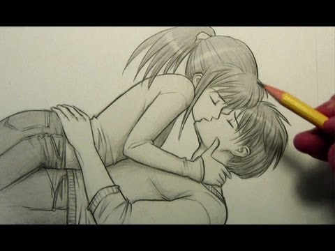 Two girls kissing anime drawing