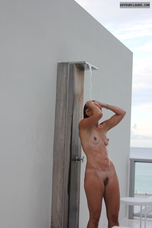 Naked outdoor shower nude