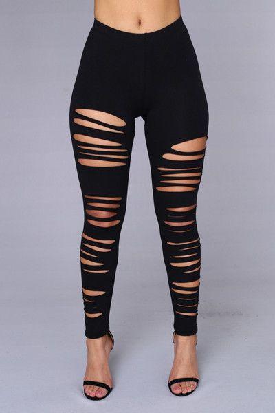 Hot girls in ripped leggings