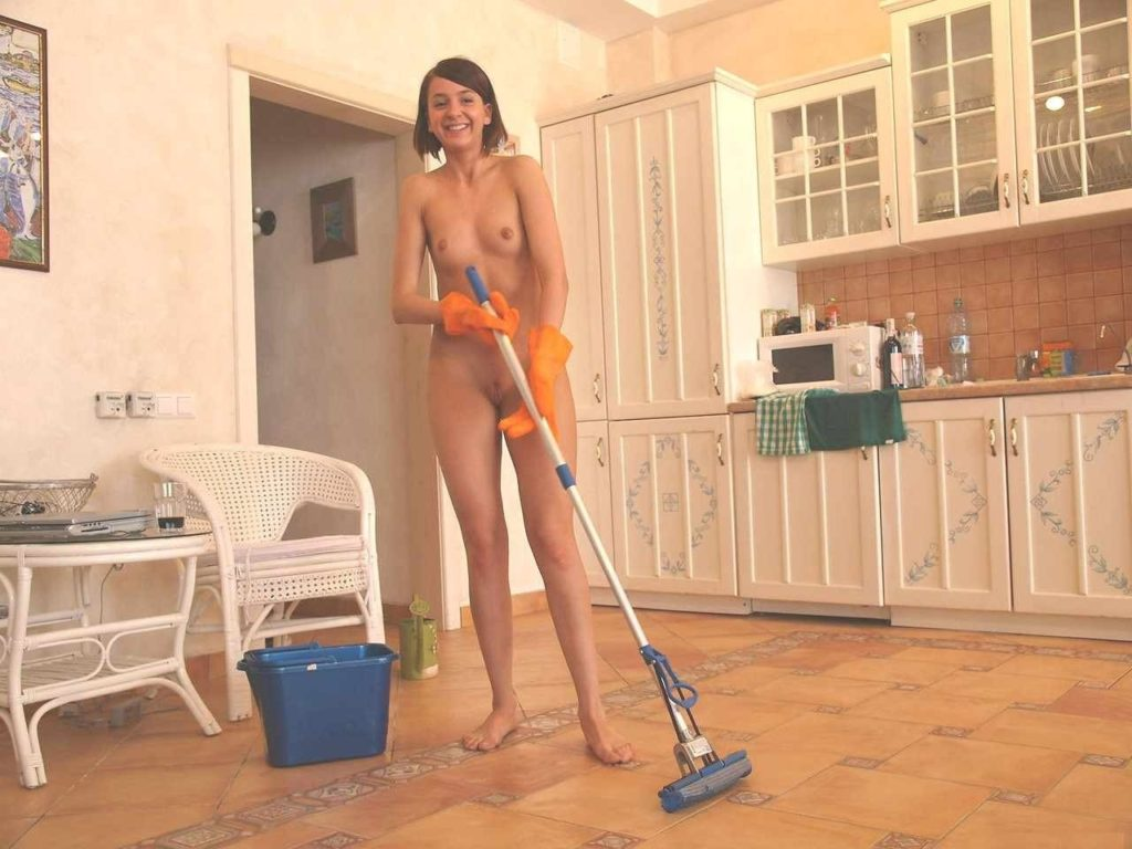 nude cleaning Naked women house