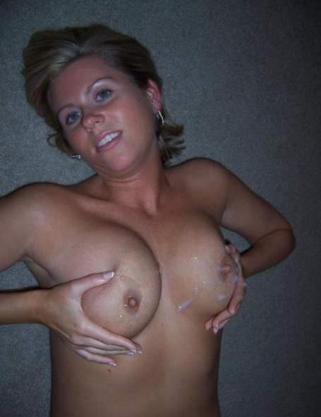 Nude wives cum on tits