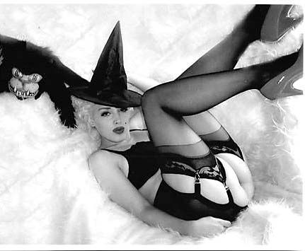 Monroe blonde black stockings