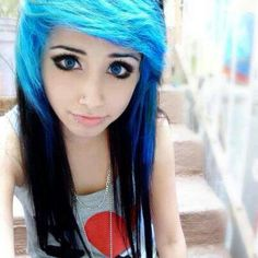black hair blue girl with Emo and