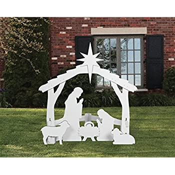 White outdoor nativity scene