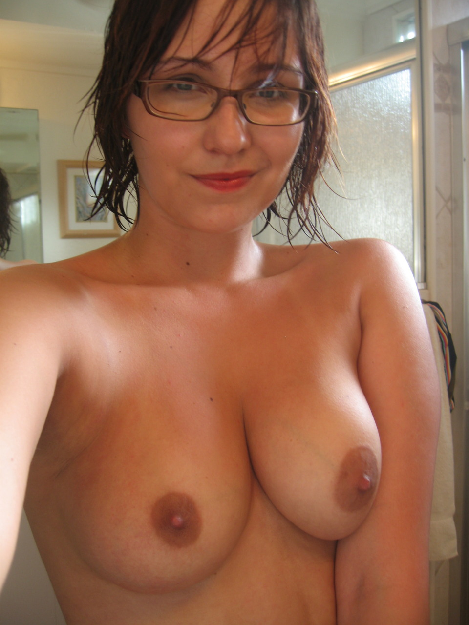 Glasses naked in nerd girl