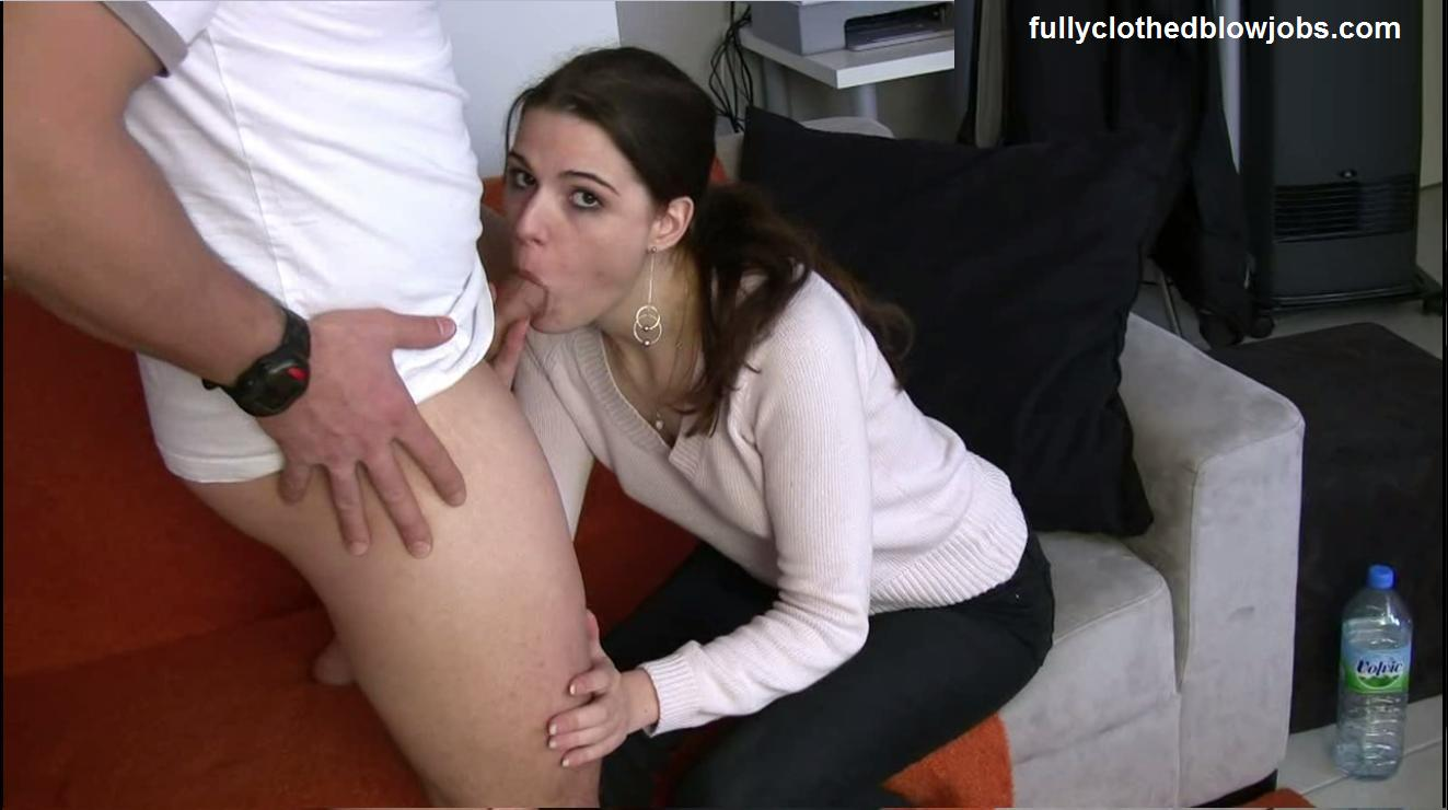 Clothed gay blowjob