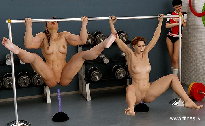 Naked female woman bodybuilder