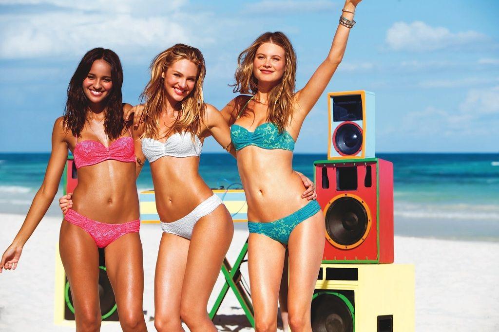 Victoria secret models on beach