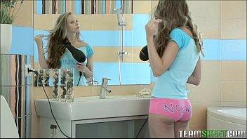 Bathroom blonde girl getting fucked