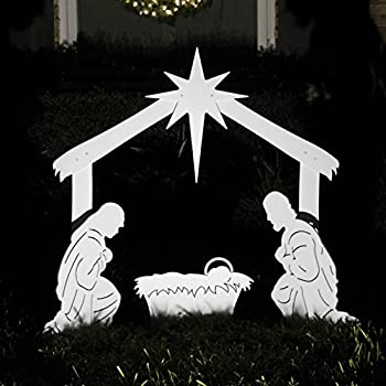 White outdoor nativity scene