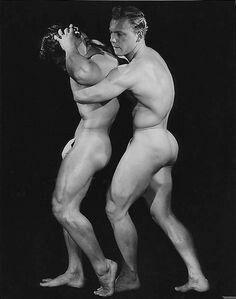 nude fighting Vintage males