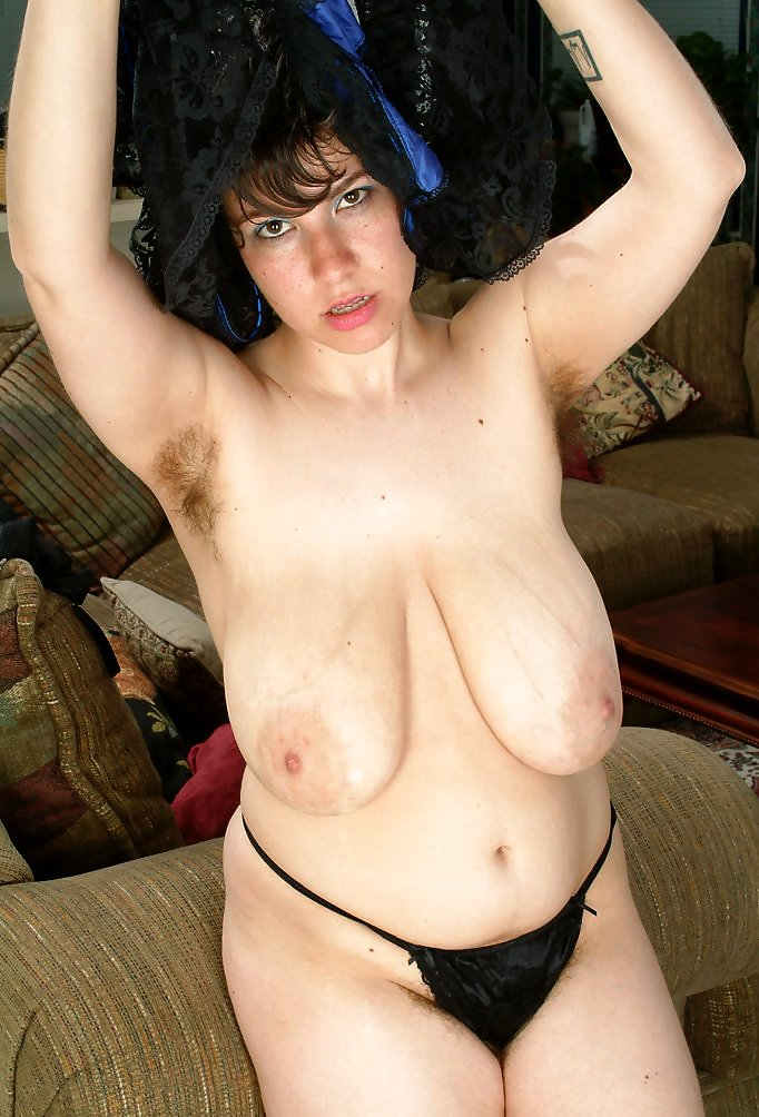 Hairy mature big saggy tits