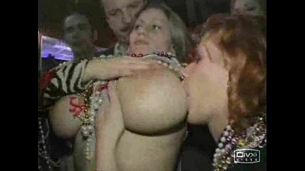 Mardi gras girls boobs sucking