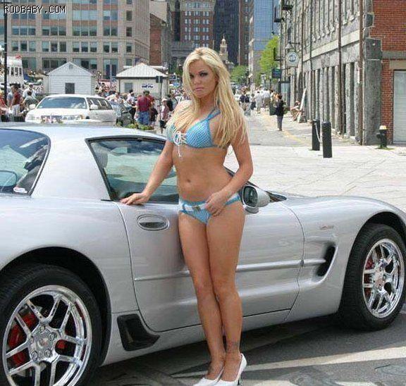 Bikini girl in sports car