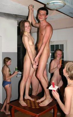 Nudist family boys and girls