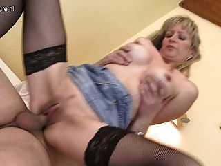 Horny blonde milf sucking and fucking