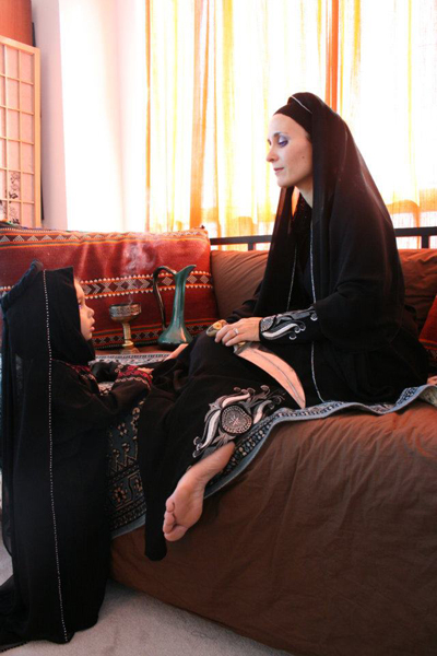 Arab hijab showing sexy feet